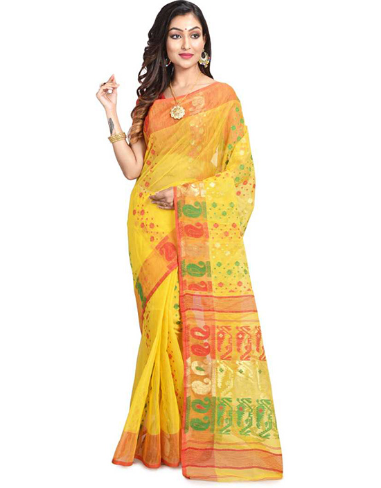 Jamdani Cotton Linen Blend, Pure Cotton Yellow Saree
