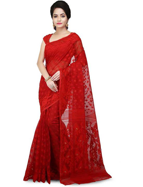 Jamdani Cotton Silk Red Saree