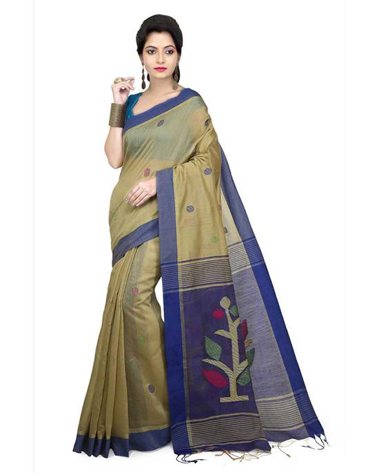 Jamdani Cotton Silk Saree Beige