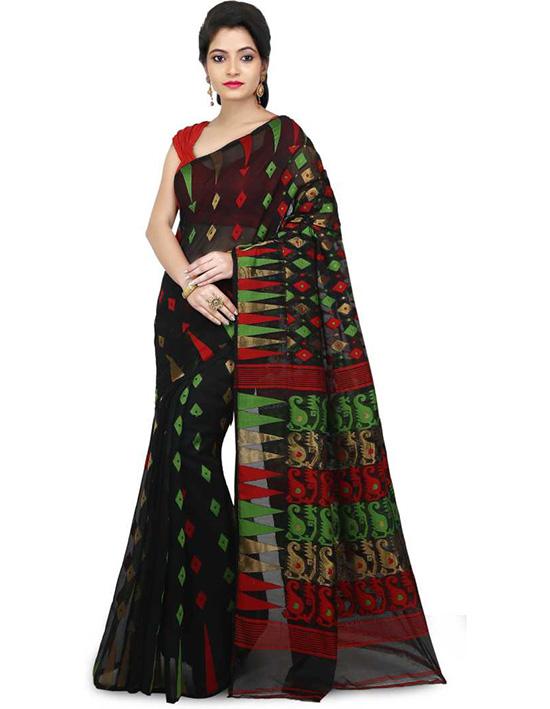Jamdani Cotton Silk Saree Black