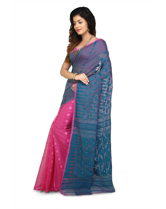 Jamdani Cotton Silk Saree Multicolor, Pink