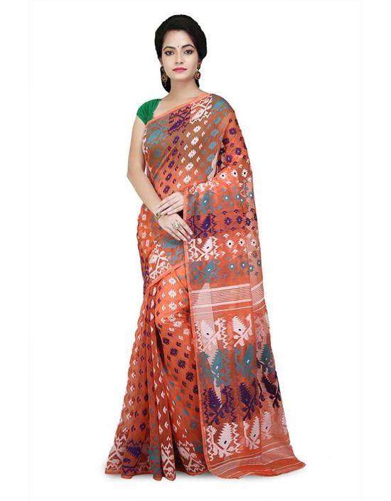 Jamdani Cotton Silk Saree Orange
