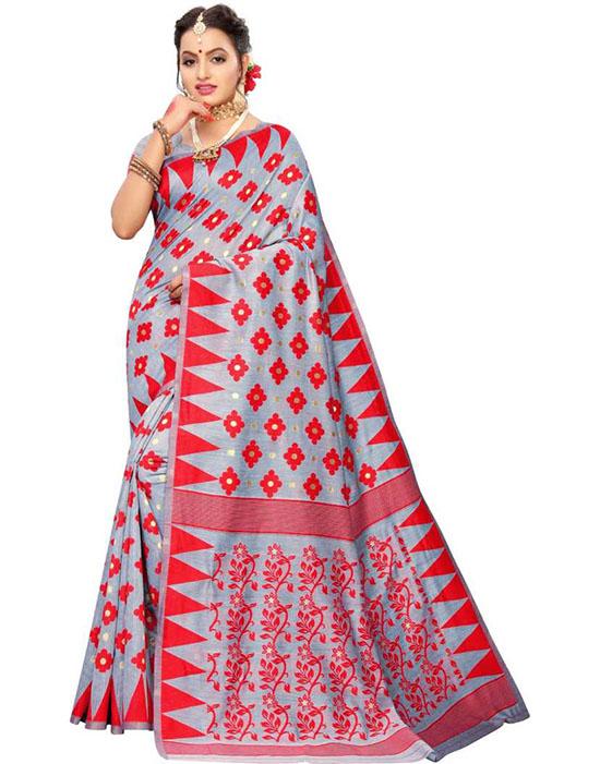 Jamdani Cotton Silk Saree Red, Grey