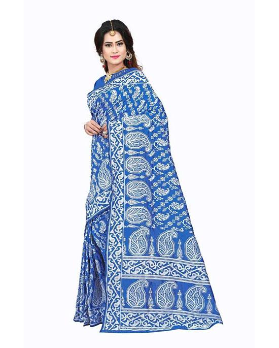 Jamdani Cotton Silk Saree White, Blue