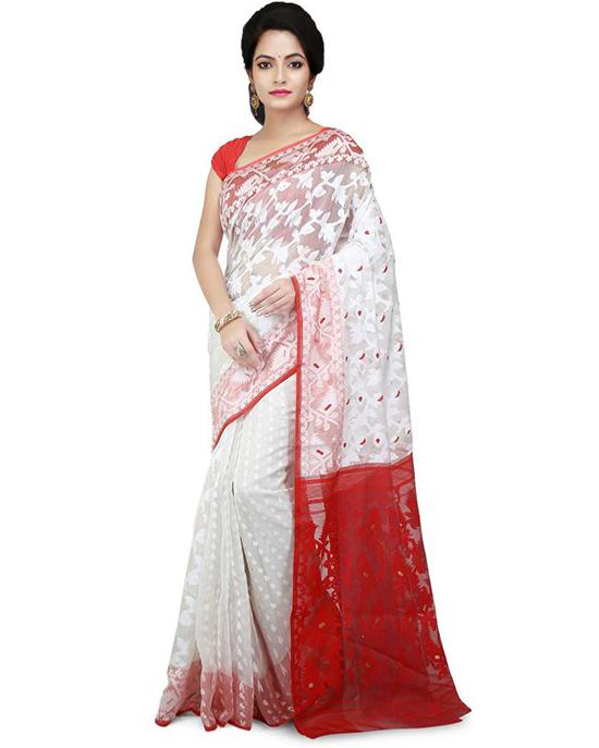 Jamdani Cotton Silk Saree White