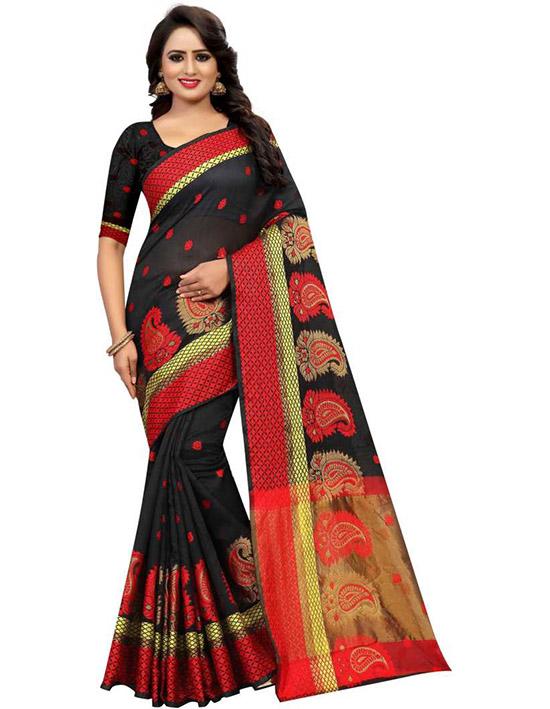 Jamdani Cotton Silk SareeBlack