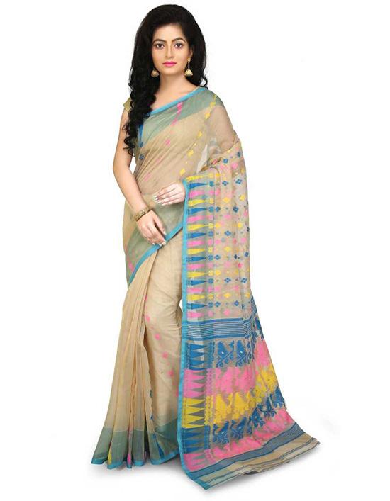 Jamdani Cotton Silk SareeMulticolor