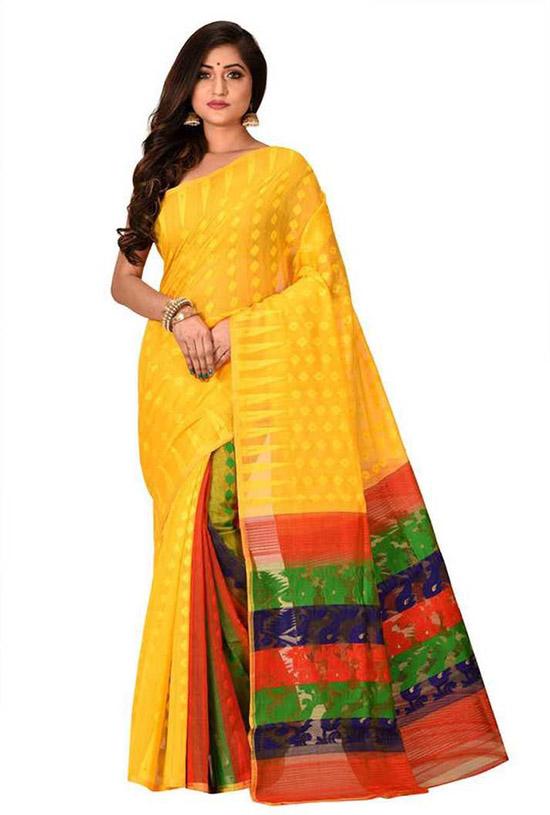 Jamdani Cotton Silk Yellow Saree