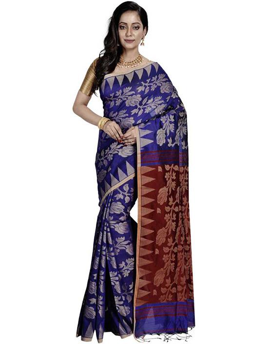 Jamdani Handloom Cotton Blend, Art Silk Saree Red, Blue