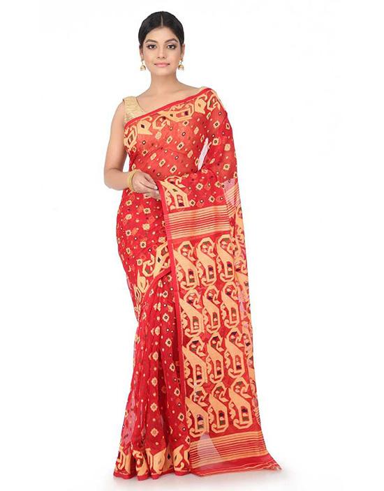 Jamdani Handloom Cotton Blend Red Saree