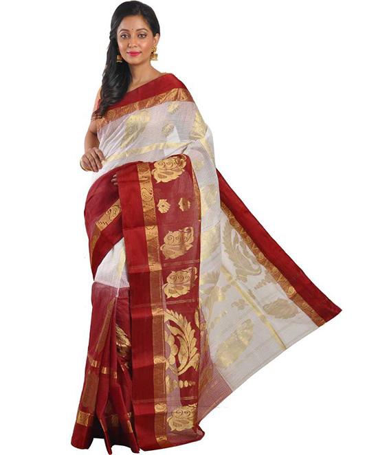 Jamdani Handloom Cotton Blend Saree Red, White, Gold