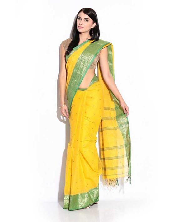 Jamdani Handloom Cotton Blend Yellow Saree