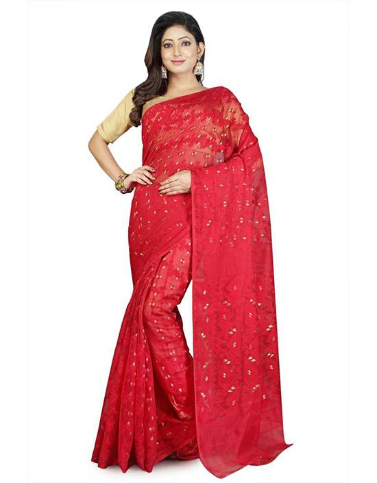Jamdani Handloom Cotton Linen Blend, Cotton Blend Red Saree