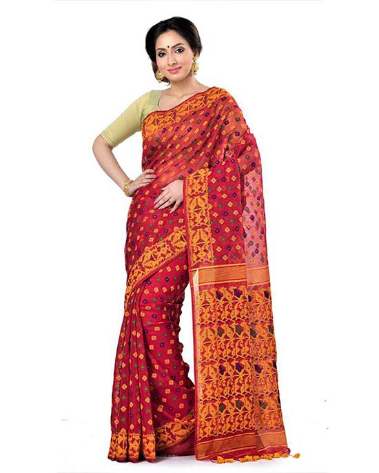 Jamdani Handloom Cotton Linen Blend Red Saree