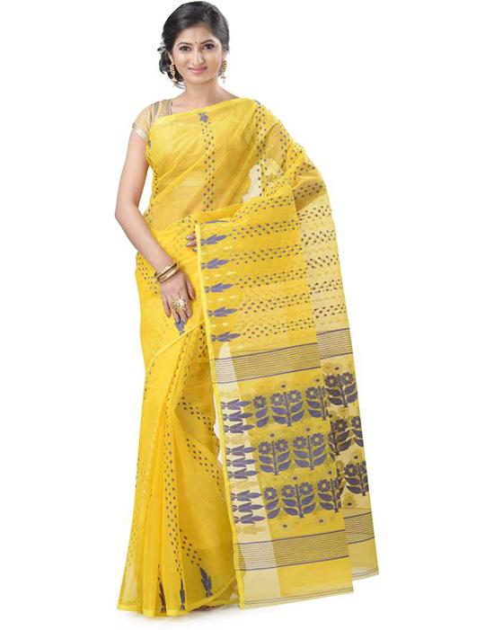 Jamdani Handloom Cotton Linen Blend Yellow Saree