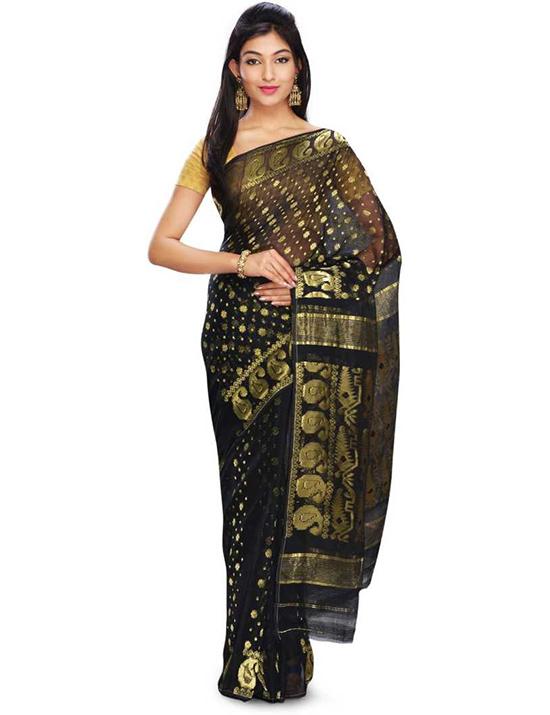 Jamdani Handloom Cotton Silk Saree Black