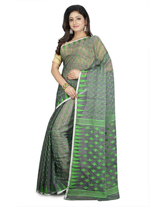 Jamdani Handloom Pure Cotton, Pure Linen Saree Green, Black