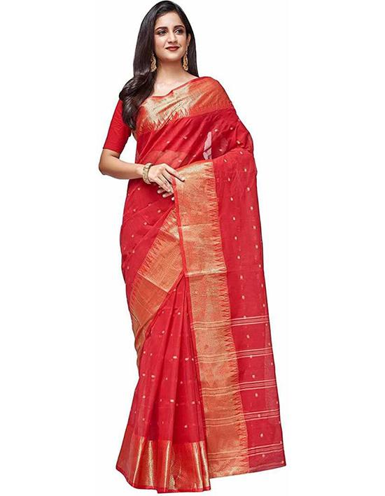 Jamdani Handloom Pure Cotton Red Saree