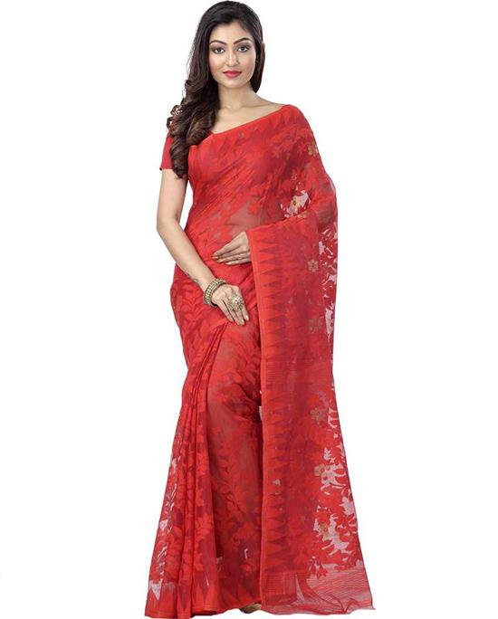 Jamdani Khadi Silk, Pure Cotton Red Saree