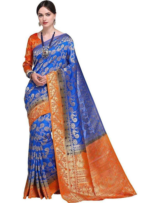 Jamdani Poly Silk Saree Blue, Orange