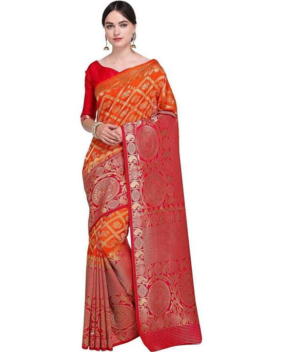 Jamdani Poly Silk Saree Red, Orange