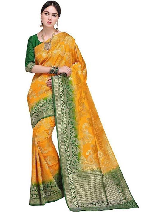 Jamdani Poly Silk Yellow Saree