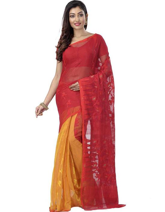 Jamdani Pure Cotton, Cotton Silk Red Saree