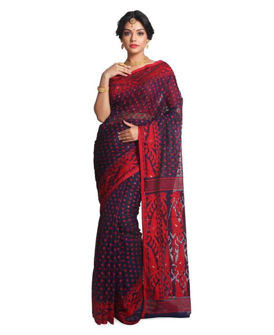 Jamdani Pure Cotton Saree Multicolor