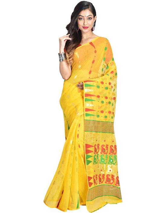 Jamdani Pure Cotton Yellow Saree