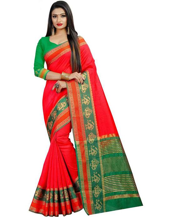 Jamdani Pure Silk Red Saree