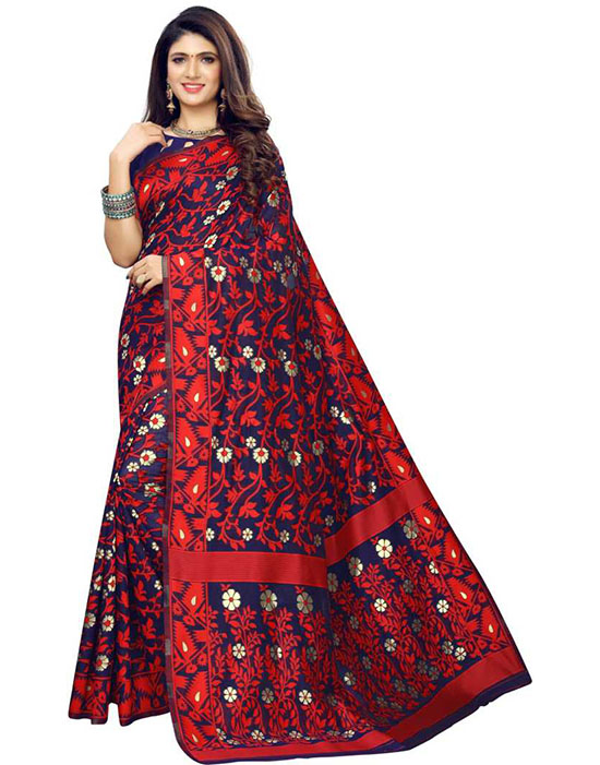 Jamdani Silk Blend, Jacquard Red Saree