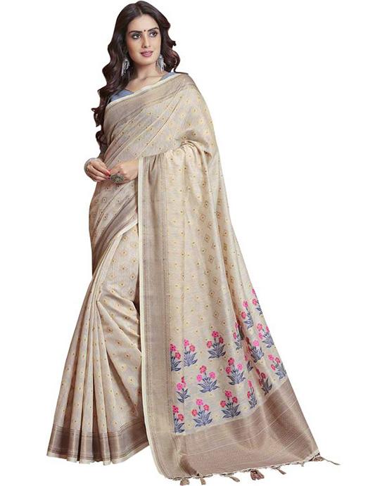 Jamdani Silk Blend, Jacquard Saree Beige