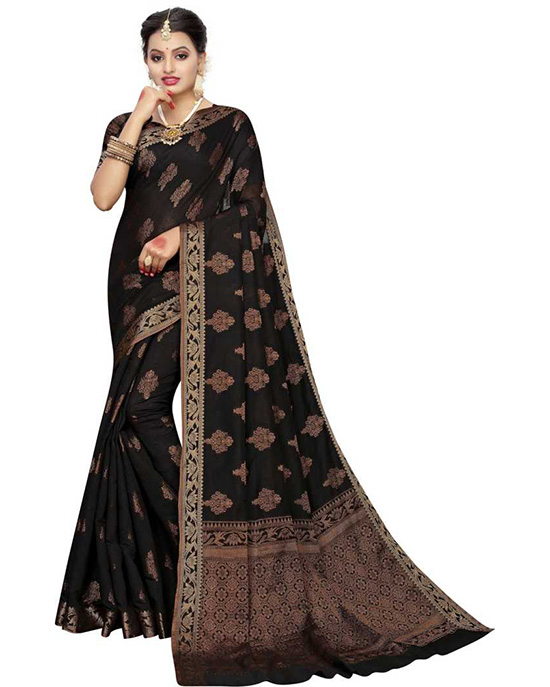 Jamdani Silk Blend, Jacquard Saree Black