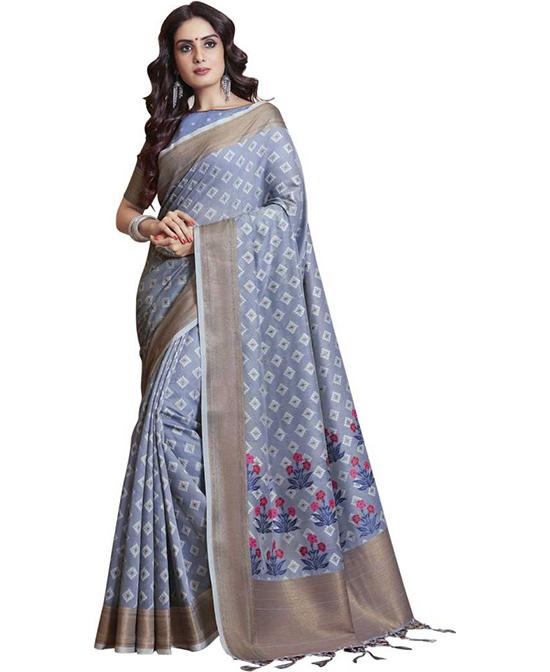 Jamdani Silk Blend, Jacquard Saree Grey
