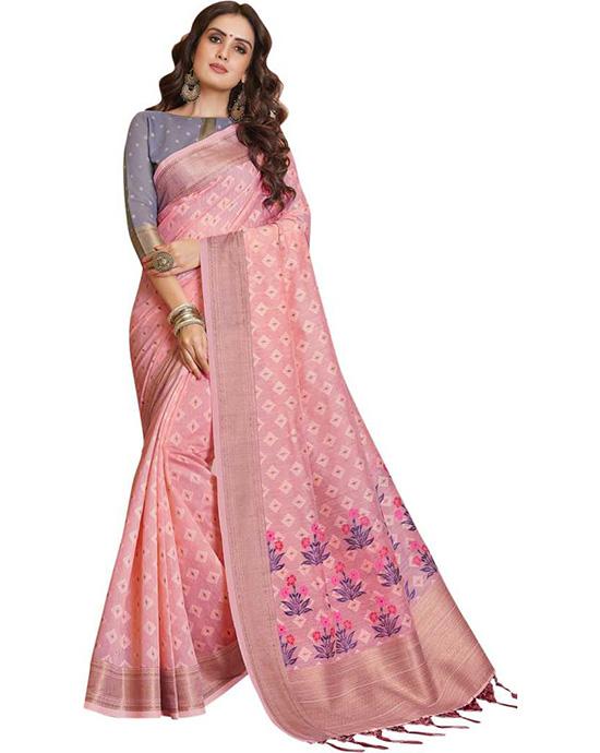 Jamdani Silk Blend, Jacquard Saree Pink