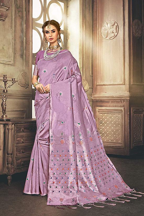 Kanchipuram Art Silk Lavender Saree