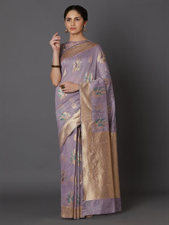 Kanjeevaram Lavender & Gold Saree