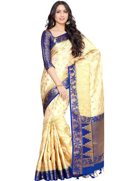 Kanjivaram Art Silk Beige Colour Saree