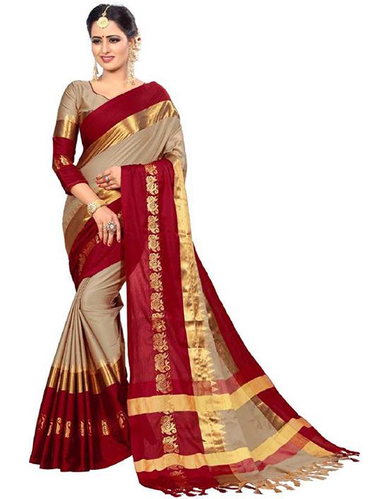 Kanjivaram Art Silk, Cotton Silk Beige Colour Saree