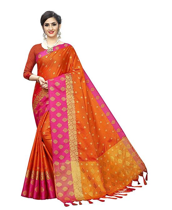 Kanjivaram style Banarasi Kora Muslin Silk Saree