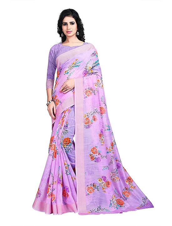Khadi Digital Print Lavender Saree