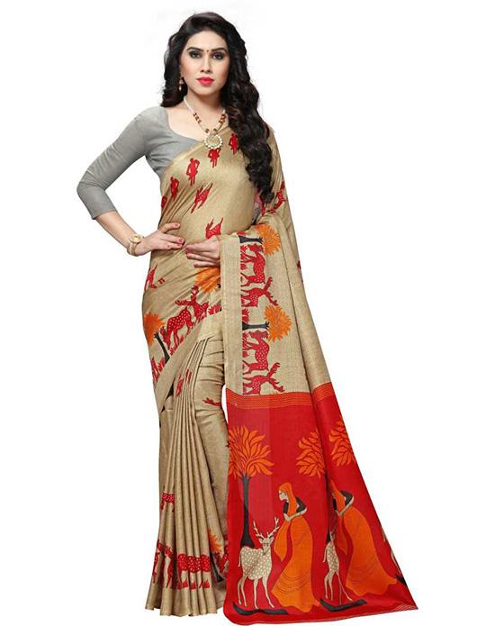 Khadi Silk Beige Colour Saree