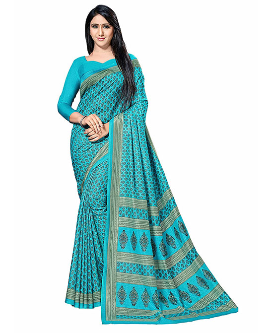 Kora Art Silk Blue Saree With Blouse Piece