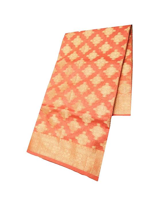 Kora Peach Muslin Saree for Women