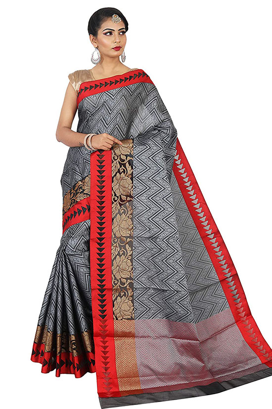 Kora Silk Antique Zari Saree with Blouse Piece