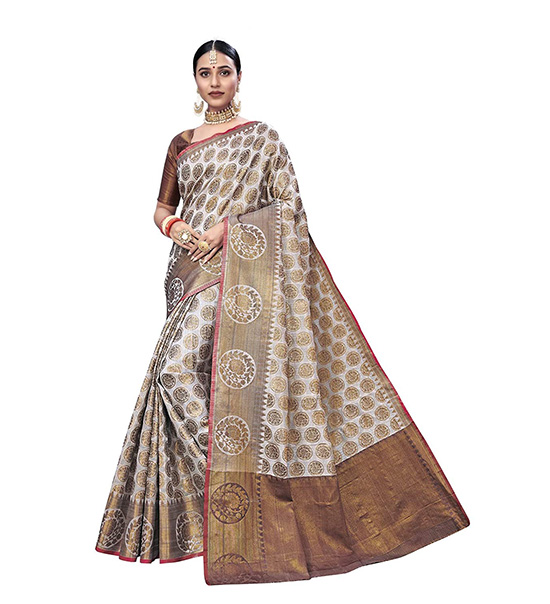 Kora Silk Banarasi Saree with Blouse