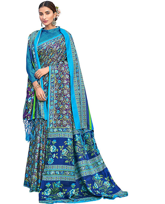 Kora Silk Blue Saree With Unstitched Blouse