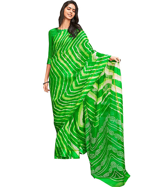 Kora Silk Green Saree With Running Blouse