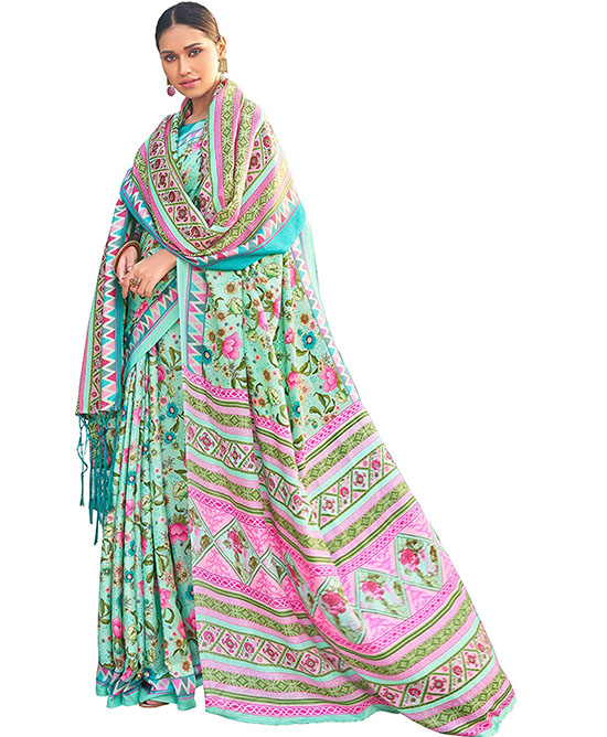 Kora Silk Light Green Saree