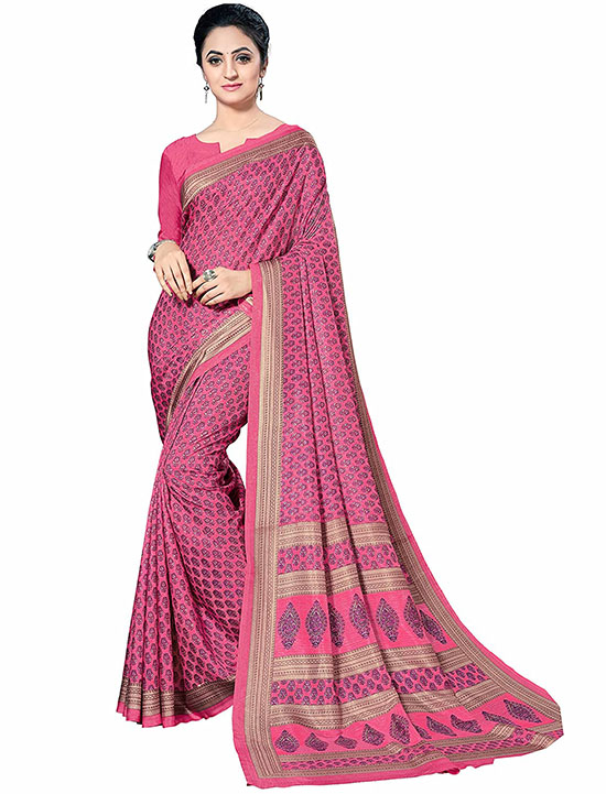 Kora Silk Pink Saree With Blouse
